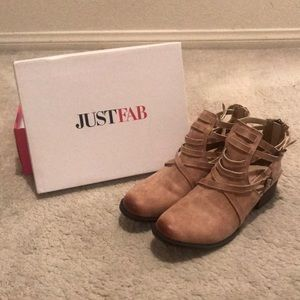 Tan Buckled Ankle Boots from JustFab